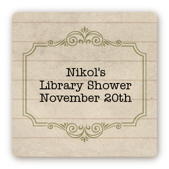 Library Card - Square Personalized Baby Shower Sticker Labels