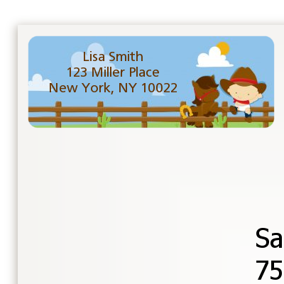 Little Cowboy - Birthday Party Return Address Labels