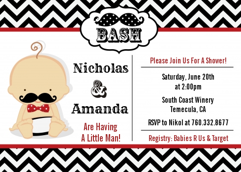 Little man mustache blackgrey baby shower invitations candles and little man mustache blackgrey baby shower invitations caucasian blackred filmwisefo