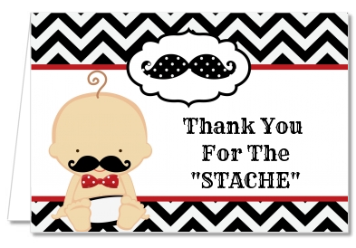 Baby Shower Thank You Cards Little Man Mustache Black Grey Thank