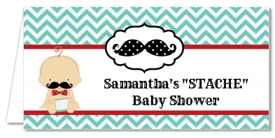 Little Man Mustache - Personalized Baby Shower Place Cards Caucasian