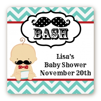 Little Man Mustache - Square Personalized Baby Shower Sticker Labels Caucasian