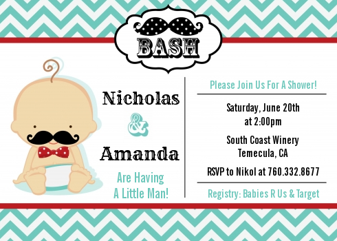 Little Man Mustache Baby Shower Invitations Caucasian