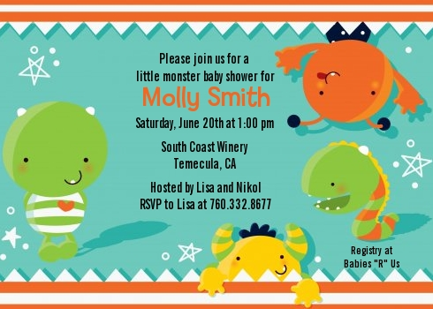 little monster birthday party invitations  candles and favors, Baby shower