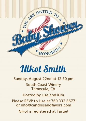 little slugger baseball baby shower invitations candles and favors