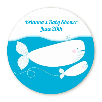 Little Squirt Whale - Round Personalized Baby Shower Sticker Labels