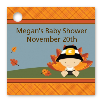 Little Turkey Boy - Personalized Baby Shower Card Stock Favor Tags