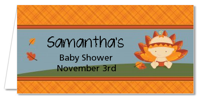 Little Turkey Girl - Personalized Baby Shower Place Cards