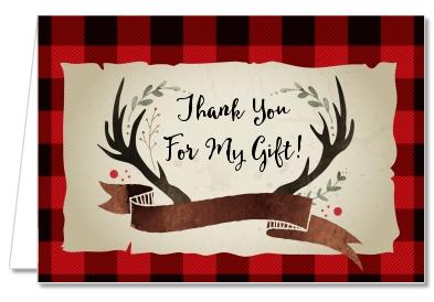 Birthday Party Thank You Cards Lumberjack Buffalo Plaid