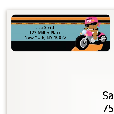 Motorcycle African American Baby Girl - Baby Shower Return Address Labels