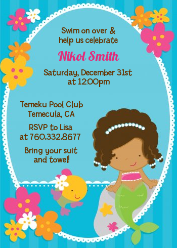 Mermaid African American Birthday Party Invitations