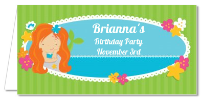 Mermaid Red Hair - Personalized Birthday Party Place Cards