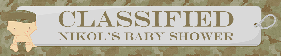 Camo Military - Personalized Baby Shower Banners Caucasian