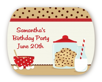 Milk & Cookies - Personalized Birthday Party Rounded Corner Stickers