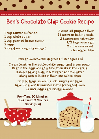 Milk & Cookies - Birthday Party Recipe Card