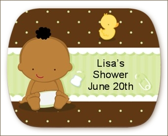 Baby African American - Personalized Baby Shower Rounded Corner Stickers