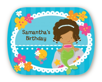Mermaid African American - Personalized Birthday Party Rounded Corner Stickers