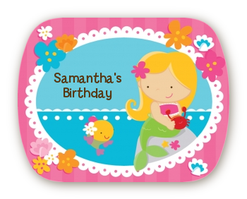 Mermaid Blonde Hair - Personalized Birthday Party Rounded Corner Stickers