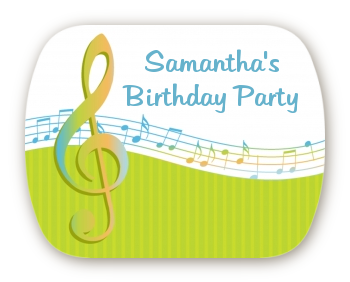 Musical Notes Colorful - Personalized Birthday Party Rounded Corner Stickers