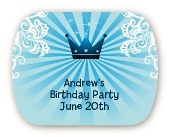 Prince Royal Crown - Personalized Birthday Party Rounded Corner Stickers