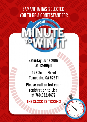 Minute To Win It Inspired Birthday Party Invitations | Candles and Favors