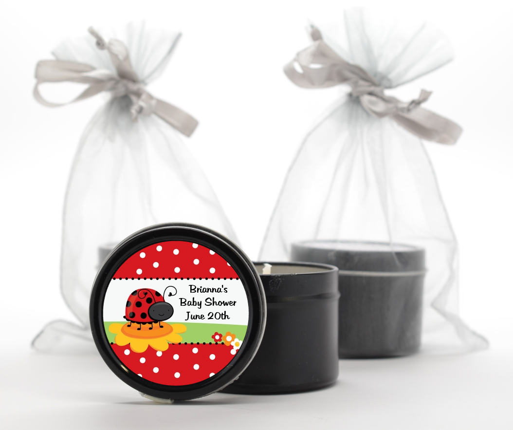 modern ladybug red baby shower black candle tin favors