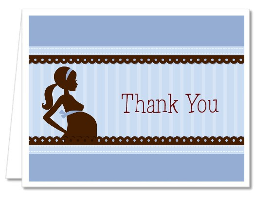 Mommy Silhouette It's a Baby - Baby Shower Thank You Cards Mommy - Green