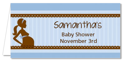 Mommy Silhouette It's a Boy - Personalized Baby Shower Place Cards