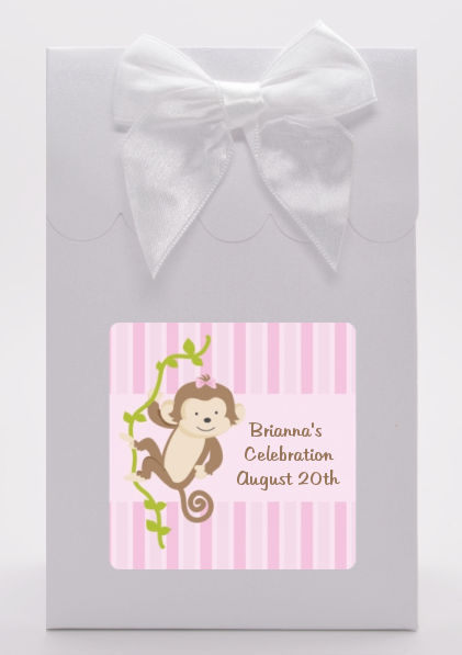 monkey girl baby shower goodie bags candles favors