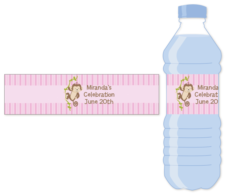 monkey girl water bottle label baby shower water bottle stickers