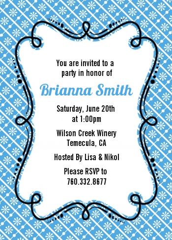 Modern Thatch Blue - Personalized Everyday Party Invitations