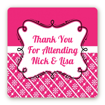 Modern Thatch Fuschia - Personalized Everyday Party Square Sticker Labels