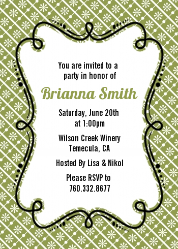 Modern Thatch Green - Personalized Everyday Party Invitations