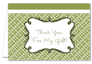 Modern Thatch Green - Personalized Everyday Party Thank You Cards
