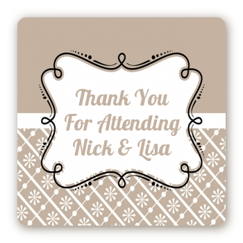 Modern Thatch Latte - Personalized Everyday Party Square Sticker Labels