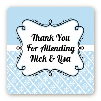 Modern Thatch Light Blue - Personalized Everyday Party Square Sticker Labels