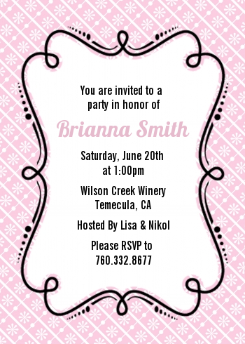 Modern Thatch Pink - Personalized Everyday Party Invitations