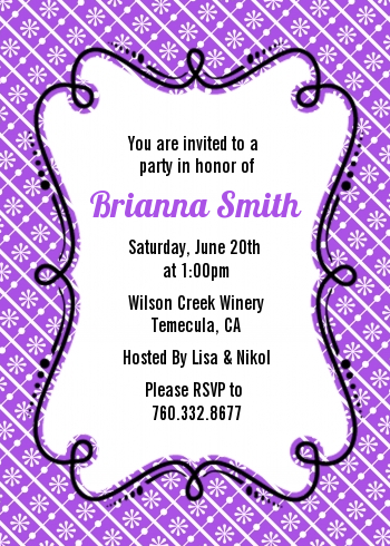 Modern Thatch Purple - Personalized Everyday Party Invitations