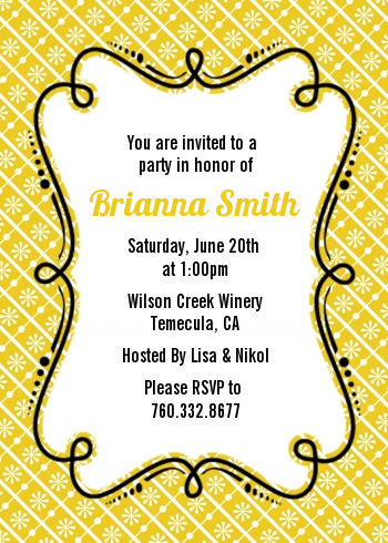 Modern Thatch Yellow - Personalized Everyday Party Invitations