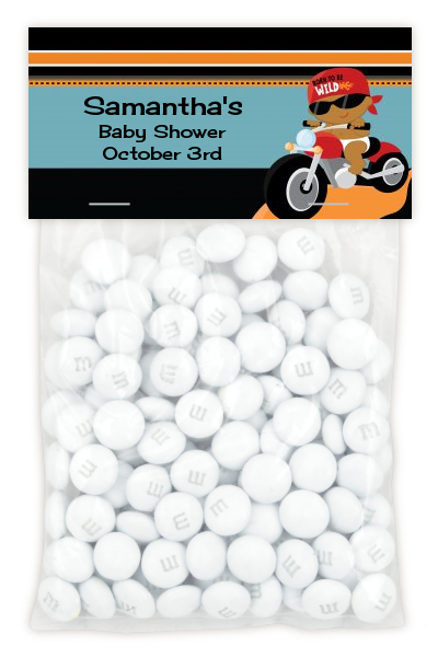 Motorcycle African American Baby Boy - Custom Baby Shower Treat Bag Topper