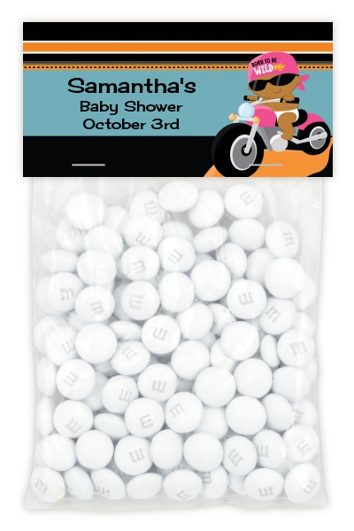 Motorcycle African American Baby Girl - Custom Baby Shower Treat Bag Topper