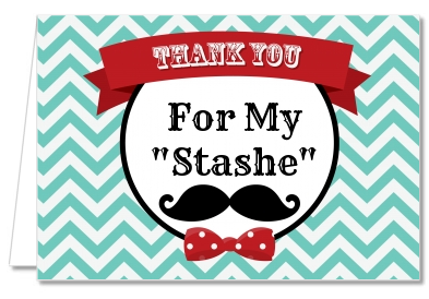 Birthday Party Thank You Cards Mustache Bash Thank You Notes