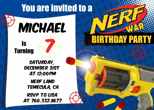 Nerf Gun Birthday Party Invitations | Candles and Favors