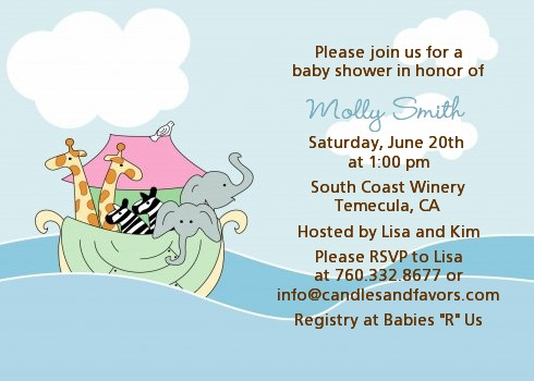 Noahs Ark Twins Baby Shower Invitations Candles and Favors