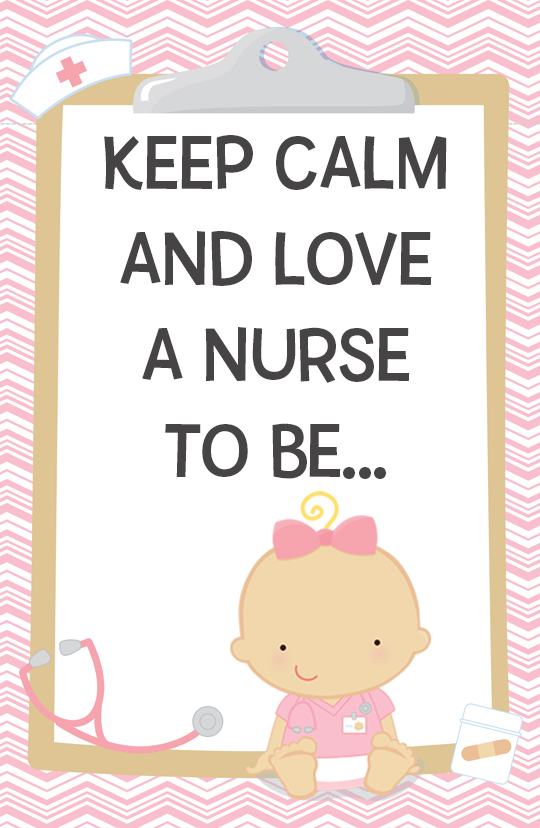 Little Girl Nurse On The Way - Personalized Baby Shower Nursery Wall Art Caucasian