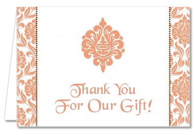 Orange Damask - Bridal Shower Thank You Cards
