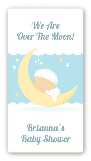Over The Moon Boy Baby Shower Rectangular Sticker Labels