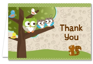 Owl - Look Whooo's Having Twins - Baby Shower Thank You Cards