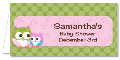 having a girl baby shower place cards owl look whooo 39 s having