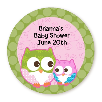 Owl - Look Whooo's Having A Girl - Round Personalized Baby Shower Sticker Labels